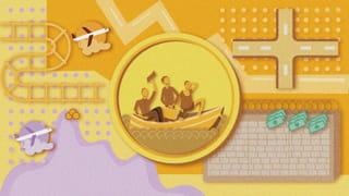 Illustratie van een munt met daarop mensen in een bootje afgebeeld