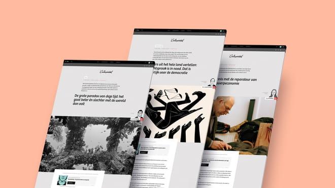 Afbeelding van drie artikelen op een rij