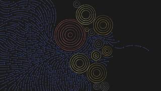 Abstract beeld bestaande uit pijlen en cirkels