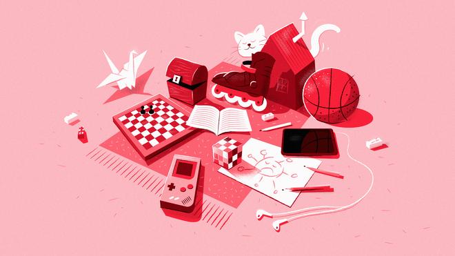 Illustratie van een schaakbord, gameboy, rubiks cube, een tekening, potloden, een ipad, een basketbal, een origami kraanvogel en skeelers op een kleed. Een kat loopt tussendoor.
