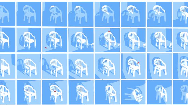Illustratie van sequentie van plastic stoel door de dag heen