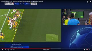 Beeld van de buitenspelsituatie die leidde tot het afkeuren van de goal van Klaas Jan Huntelaar tegen APOEL Nicosia.
