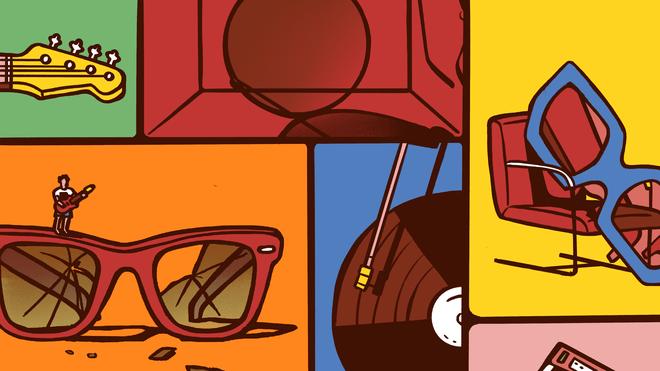 Illustratie: collage van instrumenten en zonenbrillen