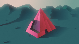 Illustration of an unsolved volumetric puzzle, sitting on a mountainous landscape.