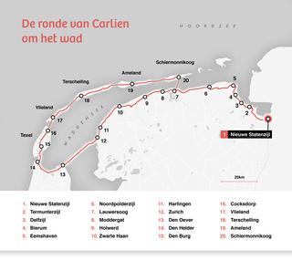 Een kaart met de Route die Carlien liep. Ze liep van Nieuwe Statenzijl naar Schiermonnikoog via onder andere: Bierum, Holwerd, Harlingen, de afsluitdijk en Den Helder naar de Waddeneilanden.  De route is ongeveer 300km lang.
