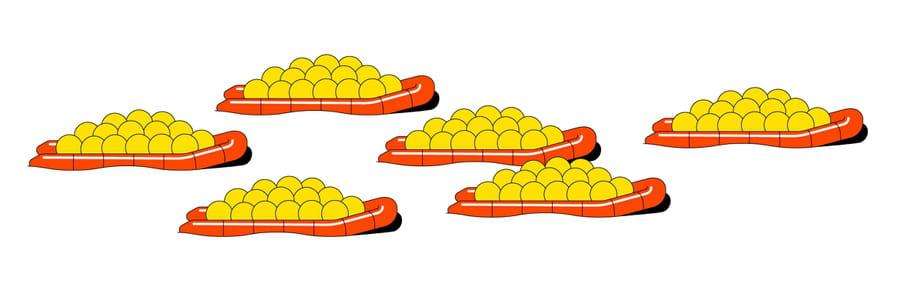 Een illustratie van Roel van Eekelen met rode reddingsbootjes met daarin bergen gele balletjes.