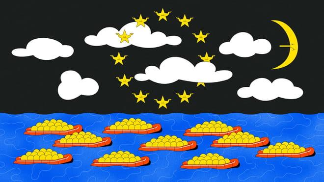 Een tekening van illustrator Roel van Eekelen met heldere kleuren van een zee vol rode reddingbootjes met gele balletjes erin. In een zwarte lucht halen sterretjes-poppetjes hun schouders op terwijl ze een cirkel vormen als op de Europese vlag. De maan trekt een nors gezicht.