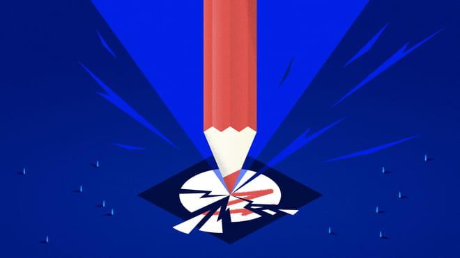 Illustratie van een potlood die een stembiljet in stukken splijt