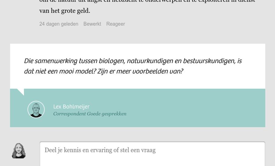 Een screenshot van de onderkant van de bijdragesectie met de oproep tussen de onderste bijdrage en het formulier om een nieuw gesprek te starten.