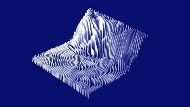 3D visualisatie van geluidsgolven die een landschap vormen