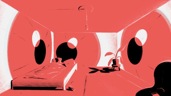 Kamer waarin alle muren als ogen naar een slapend persoon in bed staren