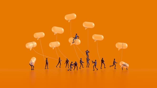 Characters die spreek ballonetjes dragen