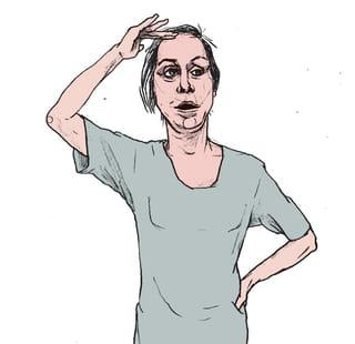 Een tekening van een wat verwarde vrouw met haar haren in de war. Haar ene hand rust op haar voorhoofd, met haar andere hand ondersteunt ze haar onderrug. Deze illustratie is van Gijs Kast.