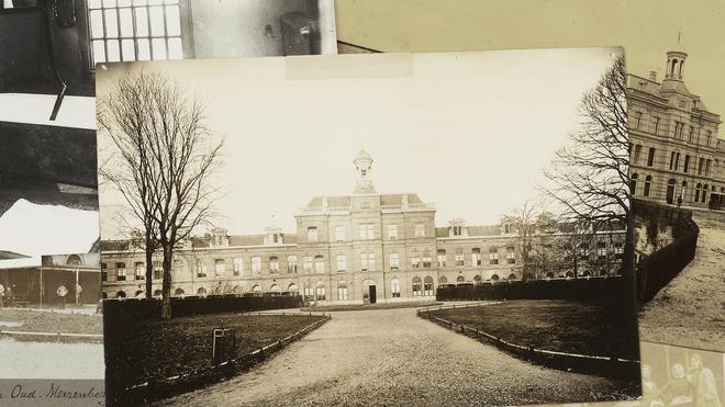 Een samenstelling van verschillende archiefbeelden van het Provinciaal krankzinnigengesticht Meerenberg. Foto: Fotocollectie Provinciale Ziekenhuizen Noord-Holland
