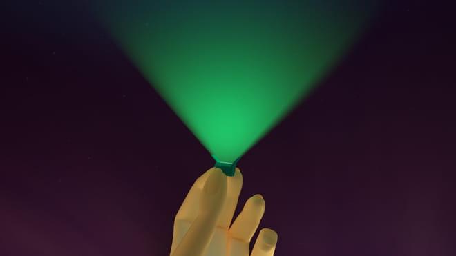 3D render van hand met klein doosje dat een noorderlicht schijnt