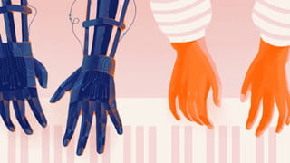 Illustratie van twee paar handen, spelend op een piano. Links zie je twee robot handen, rechts zie je twee menselijke handen.