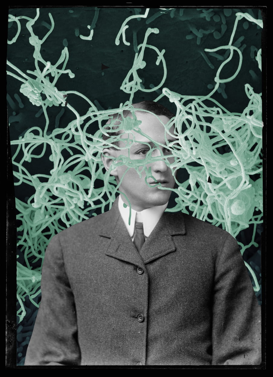 Portret van Posteur als collage met bacterieen