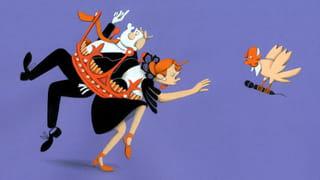 Absurdistische illustratie door Cliff van Thillo, waarop een man en een vrouw samen vast zitten in een grote kroon. Van rechts komt een vogel met een mensenhoofd aanvliegen met een microfoon in zijn hand.