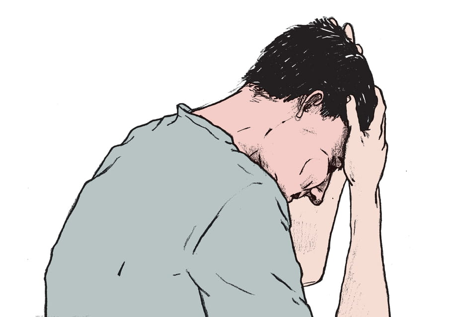 Een tekening van een man schuin van achteren die met zijn handen in het haar zit. Illustratie is van Gijs Kast.
