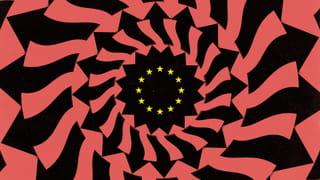 Optisch patroon van pijlen die vanen naar naar de sterren van de EU wijzen