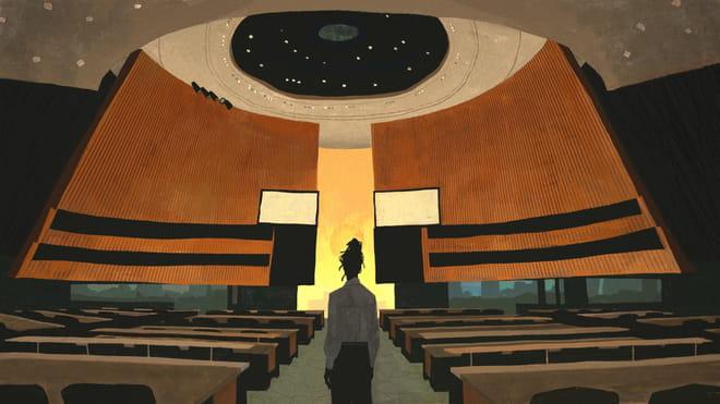 Illustratie door Katherine Lam waarop Clarice Gargard in het gangpad van de vergaderruimte van de VN staat.