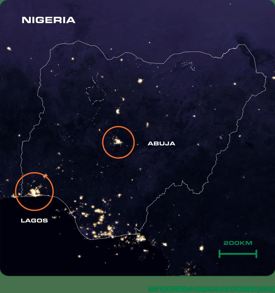 Foto van nasa met daarop Nigeria te zien in de nacht.