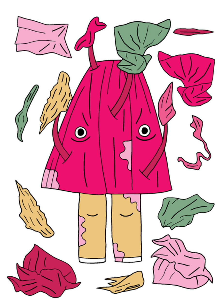 Illustratie van een wezentje gemaakt van kleding.