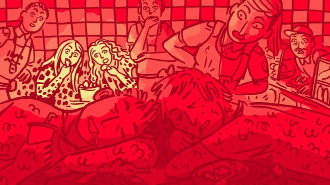 Illustratie (rood met gele kleuren) van twee jongens die slapen op een tafel in de snackbar. Op de achtergrond zien we toeschouwers kijken naar de jongens. De muur heeft een tegelpatroon.
