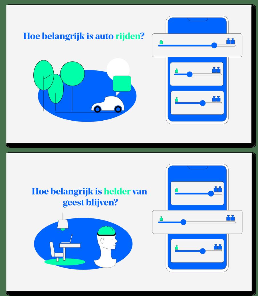 Voorbeeldscherm van app met slider om aan te geven hoe belangrijk het is om auto te rijden.