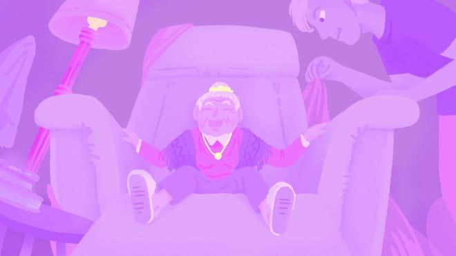 Illustratie door Clea Diedonne. Midden in beeld zien we een grote stoel met daarin en kleine oude vrouw. Rechts in beeld staat - groot - Oscar Spaans, die deze ontmoeting heeft geschreven.