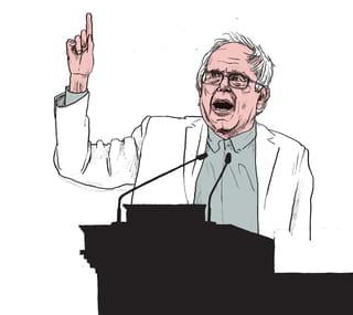 Een tekening van een oudere man met bril en grijze haren staat met geheven vinger achter een spreekstoel met microfoon. Illustratie is van Gijs Kast.