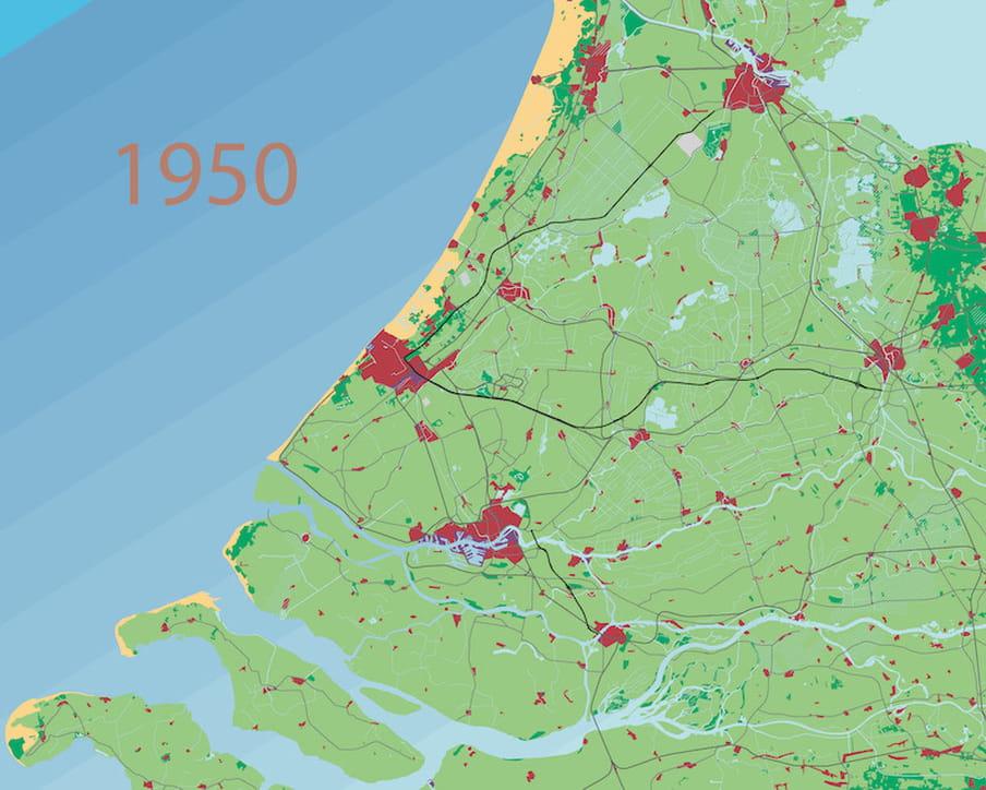 Bebouwing Zuid-Holland in 1950