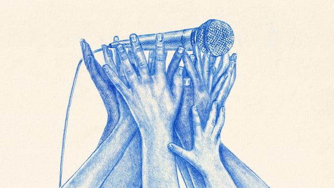 Illustratie van Tzenko, pen en papier, verschillende handen houden een microfoon omhoog