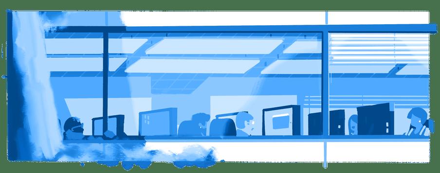 Illustratie van werknemers achter computers