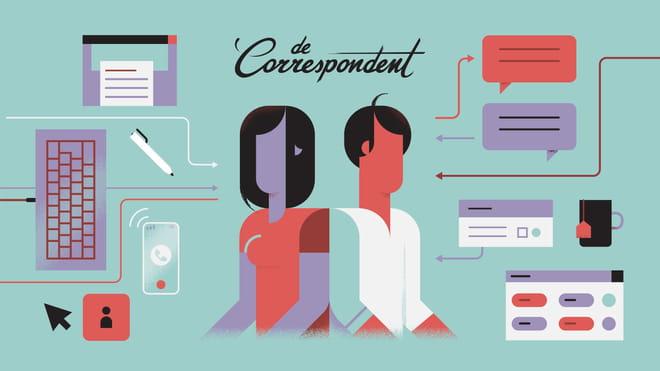 Een illustratie van twee figuren met daar omheen iconen van werkplek gerelateerde objecten en computersoftware, zoals een toetsenbord, computermuis, chatballonnen, een pen en een mok.