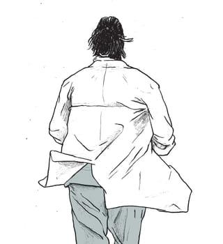 Een tekening van een dokter van achteren die wegloopt terwijl zijn doktersjas wappert. De illustratie is van Gijs Kast.