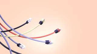 Illustratie van verschillende kabels zwevend in de lucht