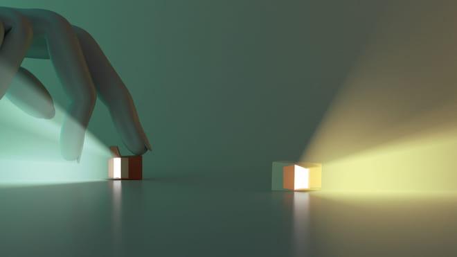 3D render van twee doosjes die licht schijnen