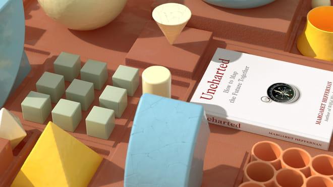 3D render van een boek tussen primaire objecten op een grid