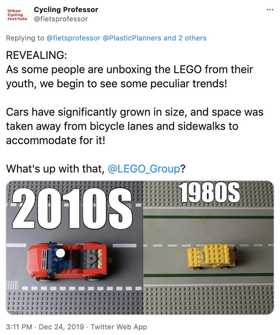 Lego-auo's en wegen groeiden in 20 jaar tijd met 150 procent. Bron  https://twitter.com/fietsprofessor/status/1209476779947253760/photo/1