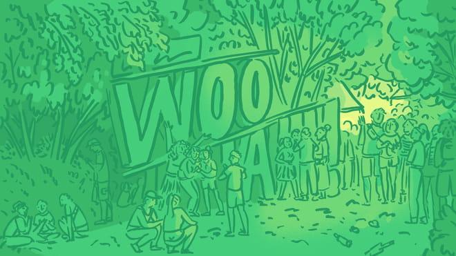 Illustratie waarop grote letters WOOHAA staan met daarom heen mensen die staan en zitten. Één mens-figuur heeft zijn of haar armen in de lucht, mensen lijken te lachen en op de achtegrond staan bomen. De illustratie is in groen en geel tinten.