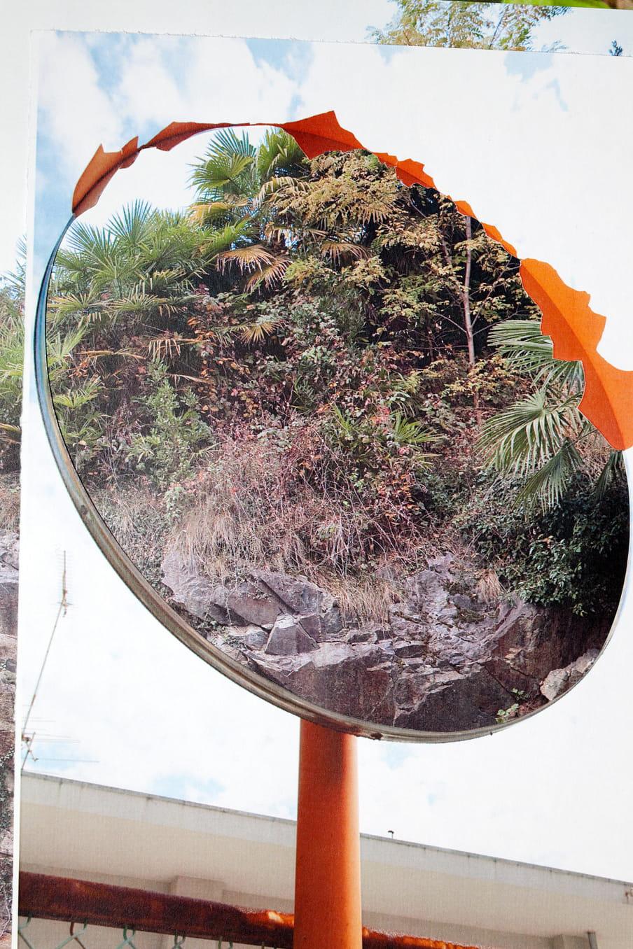 Collage met een foto van een achteruitkijkspiegel