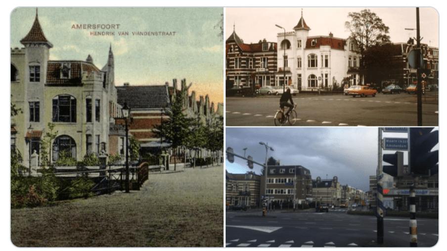 De Hendrik van Viandenstraat in Amersfoort in ca 1900, 1977 en nu.