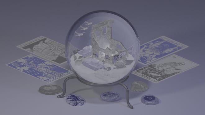 Illustratie met een glazen bol met oorlogssymbolen