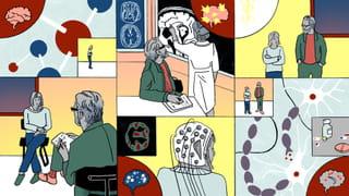 Header illustratie korte strip visuele weerslag van het gesprek