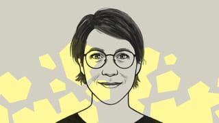 Tekening van Rosanne Hertzberger met op de achtergrond gele blokken tegen een grijze achtergrond.