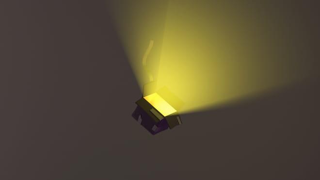 3D render van een vallend met ducktape beplakt doosje waar licht uit komt.