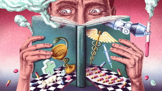 Illustratie van een man die een boek leest waarop referenties naar de farma industrie zijn afgebeeld