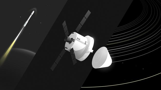 Illustratie van de Europese raket Ariane, het ruimtevaartuig Orion en de ruimte.