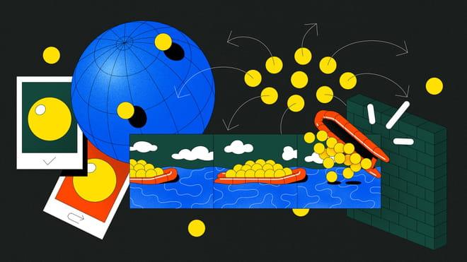 Een illustratie van Roel van Eekelen waarin gele balletjes als icoontjes voor migranten worden rondgestuurd met pijltjes over een collage van een wereldbol, een bakstenenmuur, pasfoto's en reddingsbootjes op zee.